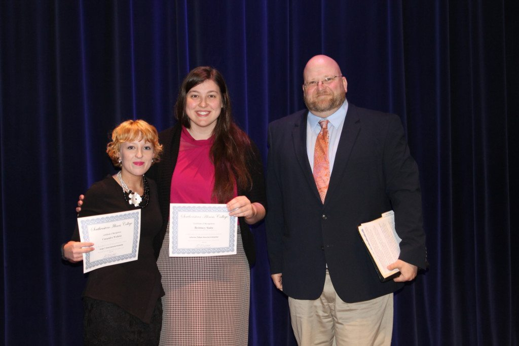 (Listed in order of appearance, l-r) Cassandra Watkins of Harrisburg was awarded George T. Dennis Memorial Scholarship.  Brittney Suits was awarded the Catherine Oldham Memorial Scholarship. The awards were presented by Paul Cummins, SIC director of forensics. Not pictured: Preston Boone of Harrisburg earning the Dennis Allen Speech Scholarship.