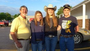 CR Sloan, Ag Instructor and FFA Sponsor, Kelly Mosby, Sarah Mead and Kolby Darnell.